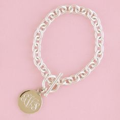 """Sterling silver heavy chain bracelet with round monogram charm is a modern yet timeless piece for your collection that is sure to be a daily wear!Available in 7 or 8"""" lengths. Email hello@courtneybockdesigns.com immediately following your order to indicate your personalization preference (include full name if possible)."""