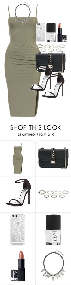 """Outfit for a night out clubbing"" by ferned ❤ liked on Polyvore featuring Valentino, Stuart Weitzman, Akira, Casetify, NARS Cosmetics, Topshop, women's clothing, women, female and woman"