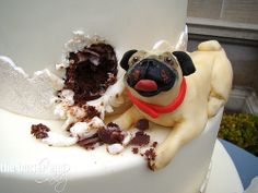 Pug wedding cake by The Butter End Cakery, Santa Monica, CA Pug Wedding, Funny Wedding Cakes, Unique Wedding Cakes, Cake Wedding, Wedding Ideas, Funny Wedding Cake Toppers, Wedding Band, Wedding Stuff, Wedding Inspiration