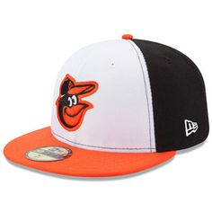 Men s New Era White Orange Baltimore Orioles Home Authentic Collection  On-Field 59FIFTY Fitted Hat 7606b3232288
