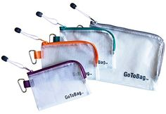 4 Pack Organizer Storage Packing Bags by GoToBag - Clear Water Resistant Solid Reinforced PVC Mesh Plastic with Zipper Closure - for Travel, Office, School, Arts and Craft, Purse, Cables, All-Purpose GoToBag http://www.amazon.com/dp/B014E7BJWW/ref=cm_sw_r_pi_dp_zmV2wb0C6CRW9