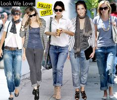 Love the rolled jean look with ankle boots