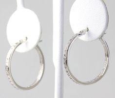 Diamond Accent Sterling Silver Round Hoop Earrings #Hoop