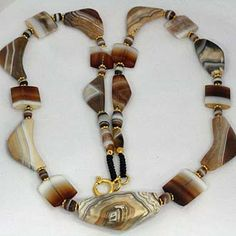 Knot Worked Ancient Agate Necklace.  Material:Ancient Agate & 925 Silver.  Origin:Mixed - Central & Western Asia. Age of beads:Est 1000 - 2500 years.  |  Ancient BeadArt Designs