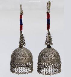 ein Paar antik nomaden Schläfen-Anhänger Ohrringe Afghanistan Belutschistan - orientart