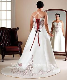 plus size weding dresses - Like the lace-up back and the color touches on this dress.