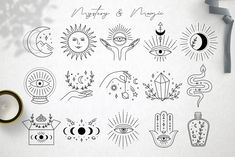 Ad: Magic collection by Alisovna on Magic collection I'm happy to present Magic collection – black and gold collection of magic and mystery illustrations, pre-made logos and Inspirational Tattoos, Tattoos, Eye Tattoo, Future Tattoos, Mystic Illustration, Drawings, Art, Mystic Symbols, Cute Tiny Tattoos