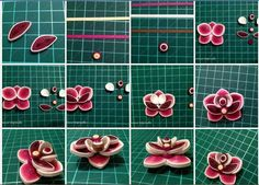 Quilled flower-Artist's name at bottom.