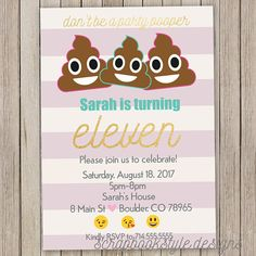 Poop Party Birthday Invitations  Emoji Girls Party Invitation