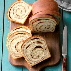 Cinnamon Swirl Bread Recipe -Your family will be impressed with the soft texture and appealing swirls of cinnamon in these lovely breakfast loaves shared by Diane Armstrong of Elm Grove, Wisconsin. Bread Recipes, Baking Recipes, Cinnamon Swirl Bread, Cinnamon Rolls, Bread Rolls, Sweet Bread, Bread Baking, Dumplings, Food To Make