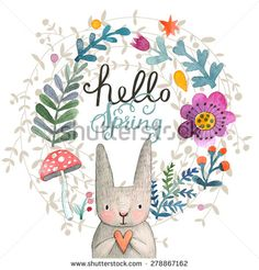 Cute card with lovely Rabbit with heart, flowers, leafs and mushroom in awesome colors. Lovely spring theme set made in watercolor technique. Bright forest concept card with text in vector Abc Crafts, Free Hand Drawing, Spring Theme, Happy Spring, Watercolor Techniques, Watercolor Cards, Cute Cards, Pattern Design, Birthday Cards
