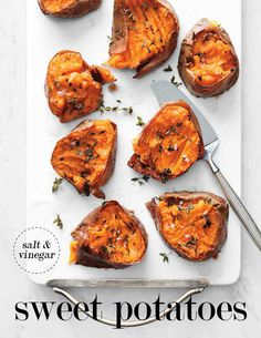 Smashed Salt-and-Vinegar Sweet Potatoes | Martha Stewart Living - Not your ordinary sweet potatoes, these are twice-cooked, punched up with vinegar and thyme, and meant to be enjoyed in their fiber-rich skins.