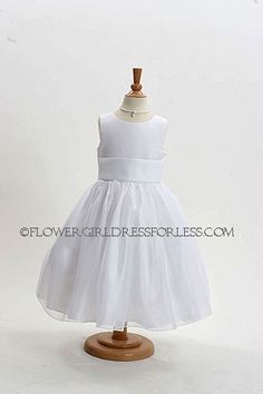 Sleeveless bridal satin bodice with bridal organza overlay skirt,dress bridal quality and is made well and does not look like the cheap poly junk dresses that y. Ivory Dresses, Bridal Dresses, Dresses For Less, Girls Dresses, Yellow Flower Girl Dresses, Girls Baptism Dress, First Communion Dresses, Organza Dress, White Flowers