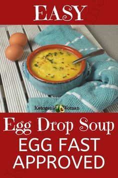 Comforting Keto Egg Drop Soup – Ketogenic Woman This egg fast approved egg drop soup recipe is one of my go to meals for the egg fast. If you want to bust through your plateau without sacrificing taste, make this easy egg fast soup recipe today! Egg And Grapefruit Diet, Keto Egg Fast, Boiled Egg Diet Plan, Egg Drop Soup, Eating Eggs, Homemade Soup, Recipe Today, Soup Recipes, Easy Egg Recipes