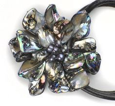 Peace Love Bling Dahlia necklace - mother of pearl and leather!