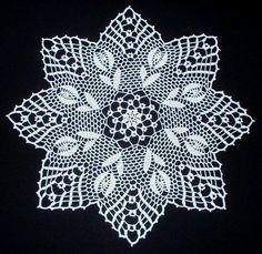 "Képtalálat a következőre: ""crochet tulip doily pattern""Lace napkins - Marianna Lara - Álbuns da web do Picasachiecrochets uploaded this image to See the album on Photobucket.Chie Crochets (Knits too! Crochet Dollies, Crochet Lace Edging, Crochet Stars, Crochet Borders, Thread Crochet, Hand Crochet, Crochet Stitches, Easter Crochet Patterns, Filet Crochet Charts"