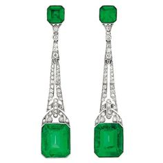 Art deco platinum, emerald and diamond earrings--to bring out my eyes