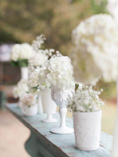 Shabby Chic Wedding Idea: Vintage white milk glass with withe flowers. #whitewedding