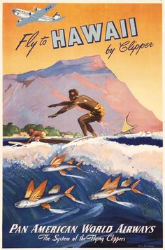 Not sure of the the year of this poster, but I flew on Pan Am from DC to Hawaii by Clipper, and then on to Guam, in 1953, when I was one year old, and then back a year or two later, and then back for good for kindergarten.  My sisters and I each had our own PAA bag, which we used for car trips for years.