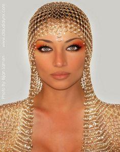 cleopatra's style: nude lips, orange smokey eyes