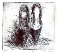 Hagit Shahal, Stilettos, 2012, hard ground etching