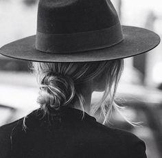 hat + low bun