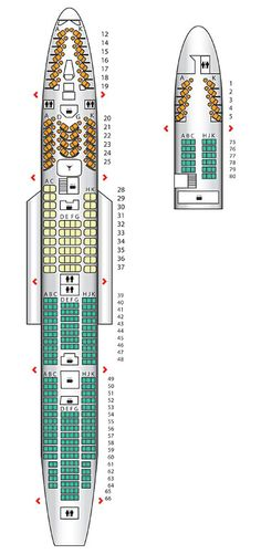 Seat plan for the #VirginAtlantic B747-400 LHR Config.