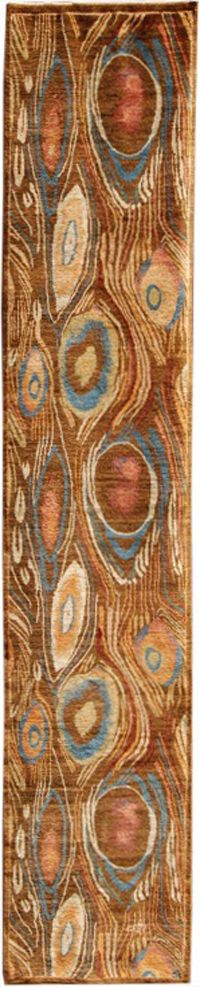 F515-3854 a contemporary runner of a wild peacock design with striking blue, red and yellow hues on a brown background