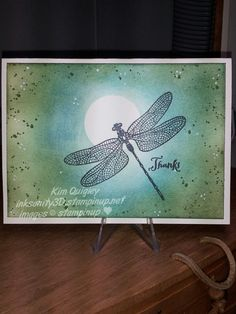 handmade card ... dreamy look with sponged and stamped moonlit sky and overstamped dragonfly ... Stampin'Up!