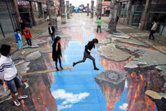 Sidewalk art  Japan