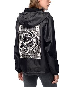 4673f84ce1e97 Take on the elements in this Slacker hooded coaches jacket from Obey. A  large printed