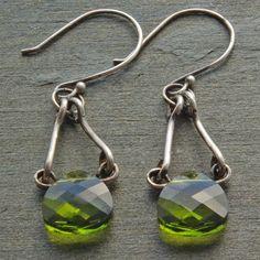 Green Swarovski Rustic Sterling Silver Dangle Earrings from www.mymusejewelry.com