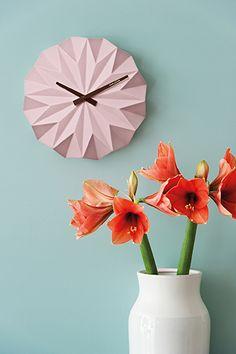 Karlsson - Wall clock Origami ceramic matt soft pink D. 27cm, Depth 6cm, BOX32 Design. #karlssonclocks #presenttime_hq #presenttime