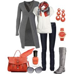 love the colors and boots...sweater may be a bit long for me but cute outfit