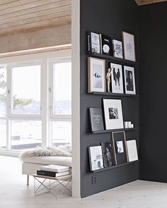 Black Wall Interior add neutral and white artwork