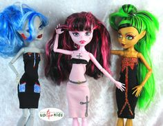 Monster Mode Set 15 - 3 Kleider  e.g. für Monster High, Ever After High 63084
