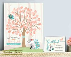 Thumbprint Guestbook, Baby Fox Thumbprint Guestbook, Fingerprint Baby Shower Guestbook, Baby Fox Welcome Sign, Teal, Coral DIGITAL FILE by montrosedesigns on Etsy https://www.etsy.com/listing/501548892/thumbprint-guestbook-baby-fox-thumbprint