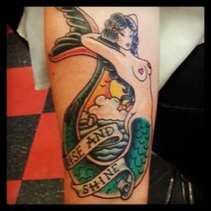 Sailor Jerry style tattoo... Changed the wording and ocean scene...