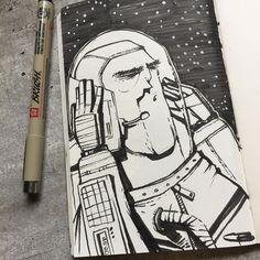Inktober day 2. #inktober inktober2016 #noise  #astronaut #helmet #ink #illustration #draw #drawing #sketch #sketchbook #exercise #blackandwhite #brush #brushpen