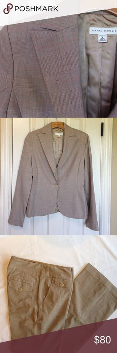 Banana Republic Suit - Plaid Great for fall!  Subtle plaid suite from Banana Republic. Trouser leg, button back pockets on pants. Single button jacket. Pants and jacket fully lined. Banana Republic Jackets & Coats Blazers