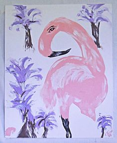 "Signed, lower right ""E Wild ""(Elaine). Art Paintings For Sale, Original Paintings, Pink Painting, Pink Art, Pink Flamingos, Palm Trees, The Outsiders, Folk, Tropical"