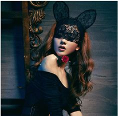 NEW  cat ear BLACK lace hair hoop lace veil  cosplay  Costume Party Hallowmas.  via Etsy.