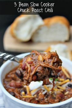 This richly flavorful 3 Bean Slow Cooker Chuck Roast Chili is a super easy meal for this cool fall weather!
