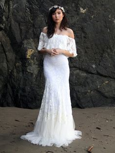 Off the Shoulder Lace Bohemian Wedding Dress by WearYourLoveXO