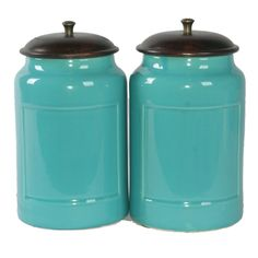 Turquoise Kitchen Tin Canister Set / 1950s Kitchen Storage Tins in ...