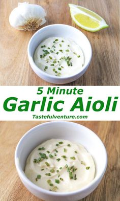 This 5 Minute Garlic Aioli is the perfect sauce for any seafood, we used it on a Salmon Dill Parmesan Burger.so delicious! Plus we made it Dairy Free! Garlic Aoli Recipe, Aoili Recipe, Garlic Recipes, Red Robin Garlic Aioli Recipe, Garlic Mayo, Basil Aioli Recipe, Aioli Recipe For Salmon, Aioli Recipe For Burgers, Garlic Cilantro Sauce