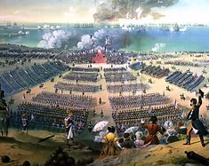 Napoleon inspecting his troops near the Channel, just waiting for the oppertunity to cross.
