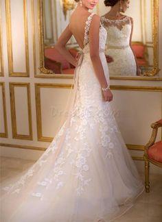 Exquisite Scoop Neck Backless Lace Mermaid Court Train Wedding Dress 10955538 - Wedding Dresses 2014 - Dresswe.Com