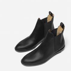 "Our Chelsea Boot is a modern take on this timeless style   100% full-grain Italian leather Elastic tab for easier pull on Squared elastic gores for modern look and easier fit ¾"" stacked leather heel, with contrast rubber accent for durability"