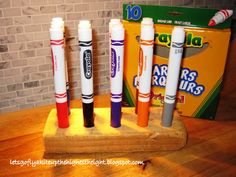 DIY wooden marker holder -- BRILLIANT! Keeps individual marker sets tidy on art shelves in Spirit Play classroom, and easy for kids to clean up.